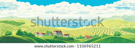 rural panoramic landscape with