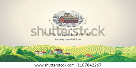 Rural panoramic landscape with design elements as a graphical illustration of the farm and diferent inscriptions.