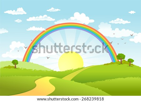 rural scene with rainbow and