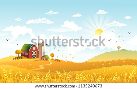 rural scene with the farm and
