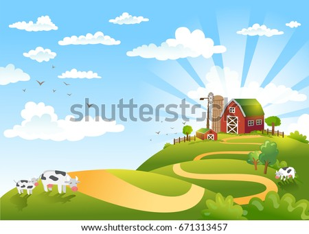 Rural scene with the farm, fields and cows on a pastures. The good choice for Logo, emblem, lable, sticker #671313457