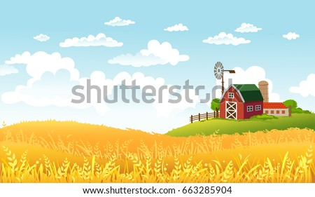 Rural scene with yellow fields and farm at the horizon on sunny day