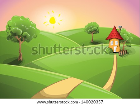 rural scenery sunset with a