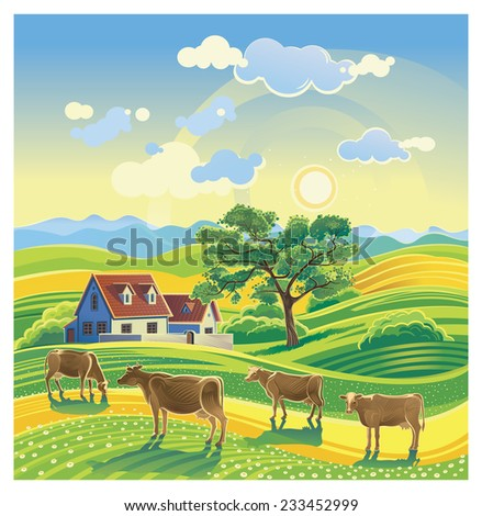 rural summer landscape and cows