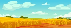 Rural summer landscape, field of ripe wheat on hills and dales, rural landscape trees, forest panorama on background. Organic grain, rye or oats cereal plants, malts abundance fertility, agriculture