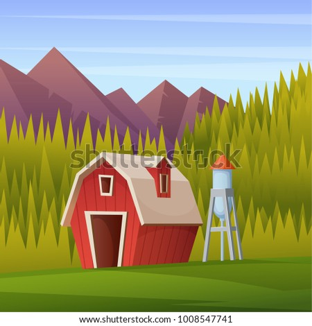 Rural summer landscape with a red shed, water tower and forest on the background