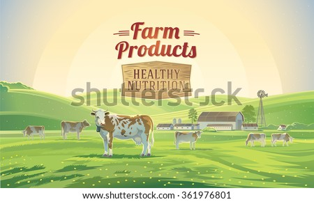 Rural sunrise landscape with cows and farm in background.