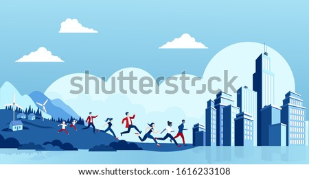 Rural to urban migration concept. Vector of people running away from countryside to a big modern city