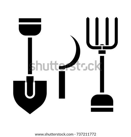 rural tools  shovel  hayfork