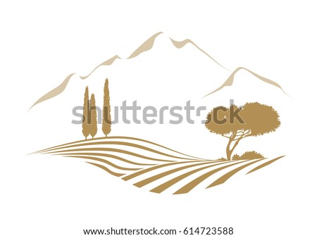 rural vector landscape with...