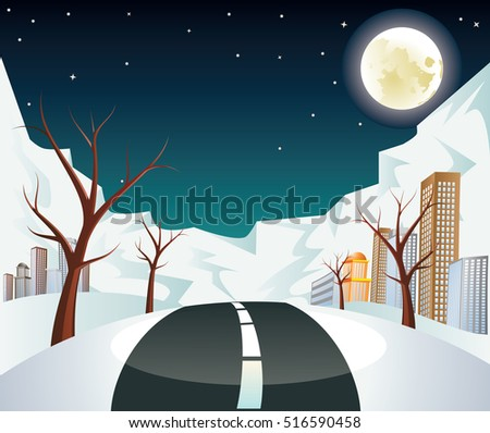 rural winter city landscape