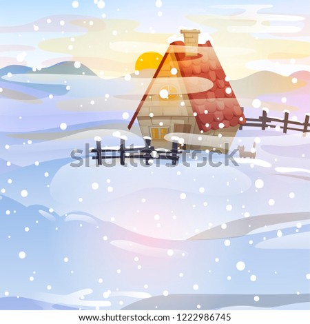 rural winter landscape with a