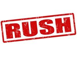 Rush grunge rubber stamp on white, vector illustration