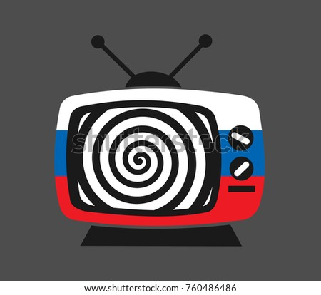 Russia and russian TV, media, press and channel as hypnosis. Manipulation, disinformation, fake news and propaganda though television and broadcasting. Vector illustration.
