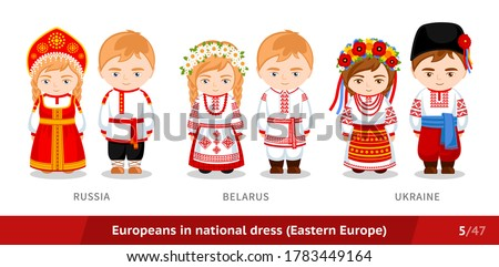 Russia, Belarus, Ukraine. Men and women in national dress. Set of european people wearing ethnic clothing.Cartoon characters in traditional costume. Eastern Europe. Vector flat illustration. Stockfoto ©