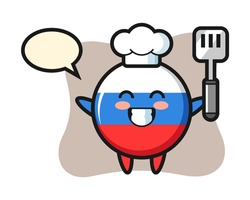 Russia flag badge character illustration as a chef is cooking, cute style design for t shirt, sticker, logo element