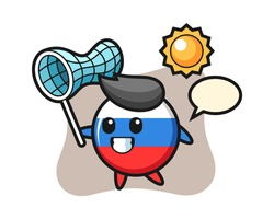 Russia flag badge mascot illustration is catching butterfly, cute style design for t shirt, sticker, logo element