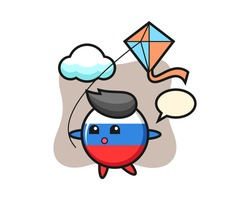 Russia flag badge mascot illustration is playing kite, cute style design for t shirt, sticker, logo element