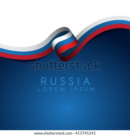 russia flag ribbon   vector