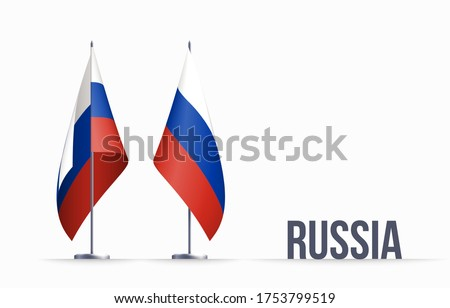 Russia flag state symbol isolated on background national banner. Greeting card National Independence Day of the Russian Federation. Illustration banner with realistic state flag of RF. Foto stock ©