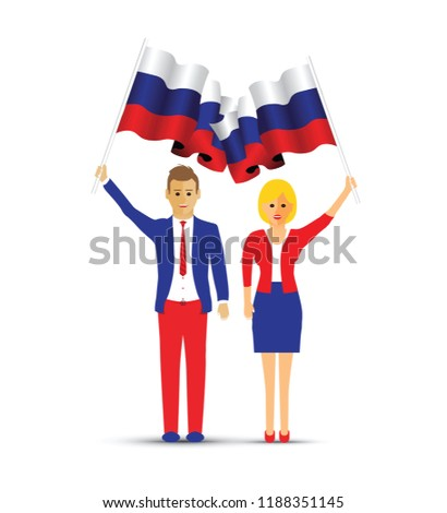 Russia flag waving man and woman