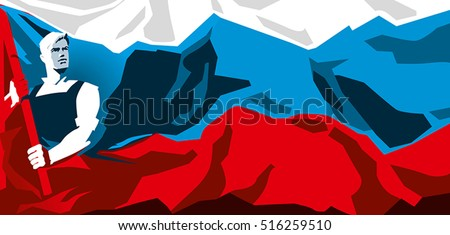 russia flag with worker