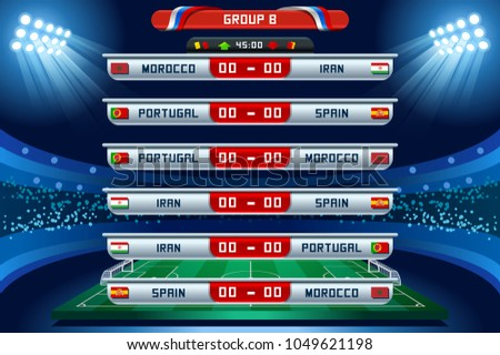 Russia 2018 Football world cup group B. Set of four different flag illustration. Vector flag collection. 2018 soccer world tournament in Russia. World football cup. Nations flags info graphic.
