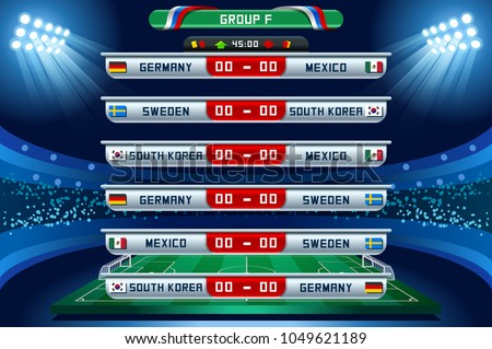 Russia 2018 Football world cup group F. Set of four different flag illustration. Vector flag collection. 2018 soccer world tournament in Russia. World football cup. Nations flags info graphic.
