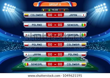 Russia 2018 Football world cup group H. Set of four different flag illustration. Vector flag collection. 2018 soccer world tournament in Russia. World football cup. Nations flags info graphic.