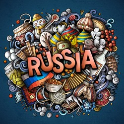 Russia hand drawn cartoon doodles illustration. Funny travel design. Creative art vector background. Handwritten text with Russian symbols, elements and objects. Colorful composition