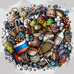 Russia hand drawn cartoon doodles illustration. Funny travel design. Creative art vector background. Russian symbols, elements and objects. Colorful composition