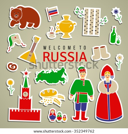 russia icon set isolated icons