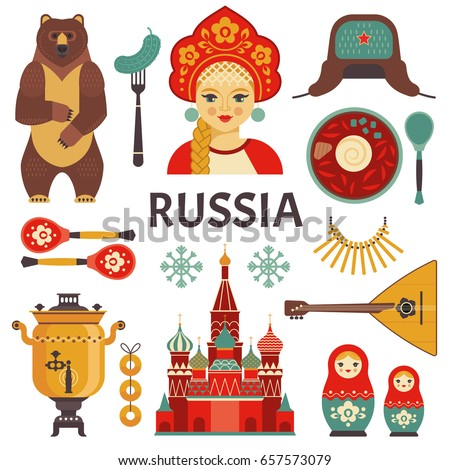 Russia icons set. Vector collection of Russian culture and nature images, including St. Basil's Cathedral, russian doll, balalaika, borscht, portrait of Russian beauty in kokoshnik. Isolated on white.