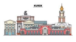 Russia, Kursk. City skyline: architecture, buildings, streets, silhouette, landscape, panorama. Flat line, vector illustration. Russia, Kursk outline design.