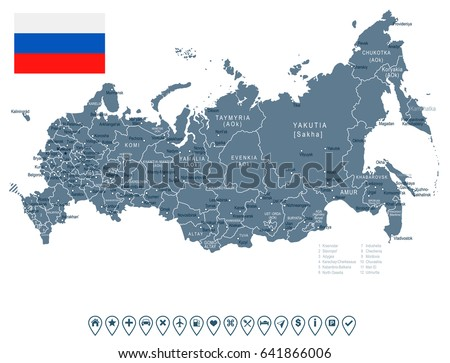 russia map and flag   highly