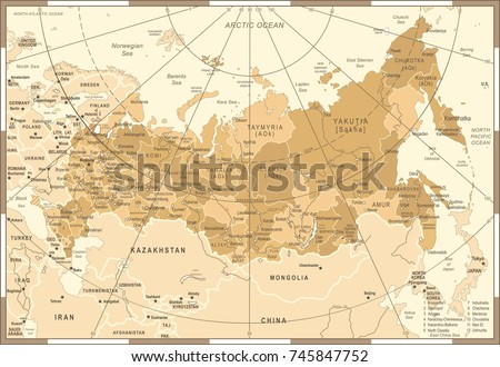 russia map   vintage detailed...