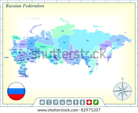 russia map with flag buttons
