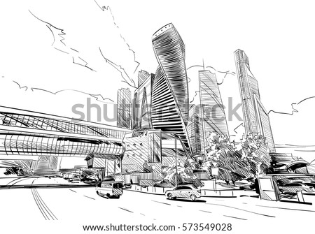 russia moscow city hand drawn