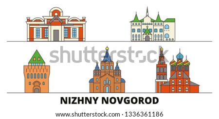 Russia, Nizhny Novgorod flat landmarks vector illustration. Russia, Nizhny Novgorod line city with famous travel sights, skyline, design.  Сток-фото ©