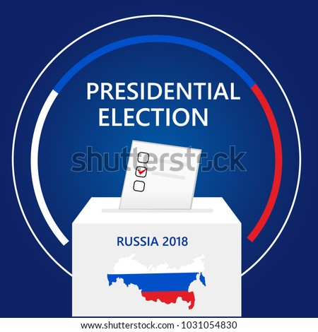 Russia presidential election and democracy political process selecting president, governor, or parliament member with election and referendum freedom to vote with ballot box vector illustration