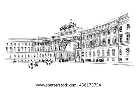 Russia. Saint Petersburg. Palace Square. Hand drawn sketch. City vector illustration