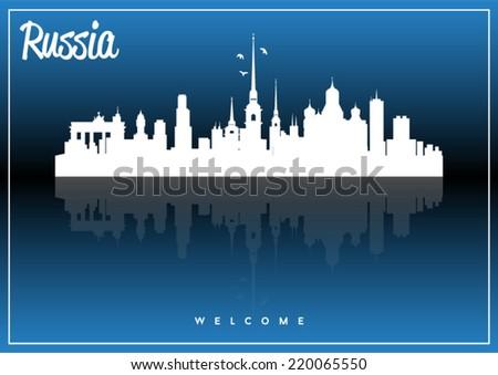 russia  skyline silhouette