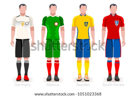 Russia Soccer world cup 2018. Group F players with team shirts flags and  ball. 78570cab7