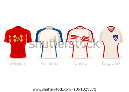 Russia 2018 soccer world cup group G of players with team shirts jersey  flags. Referee a610ab1c6