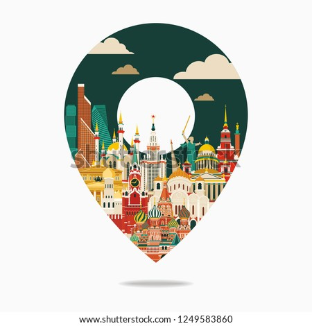 Russia travel and tourism background. Vector illustration