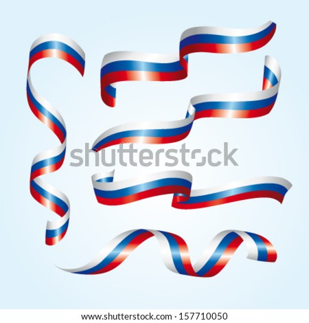 russia vector flags a set of 5