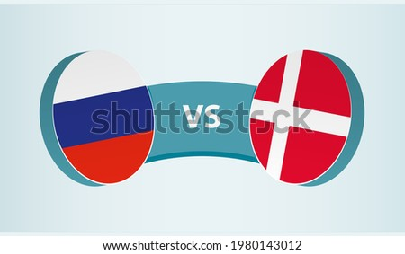 Russia versus Denmark, team sports competition concept. Round flag of countries. Foto stock ©
