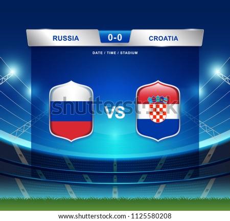 Russia vs Croatia scoreboard broadcast template for sport soccer 2018 and football league or world tournament championship round quarter finals vector illustration
