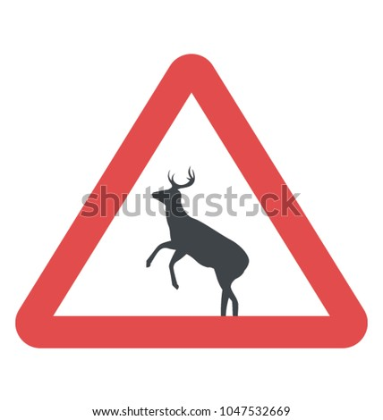 Russia wild animal crossing the roadway sign