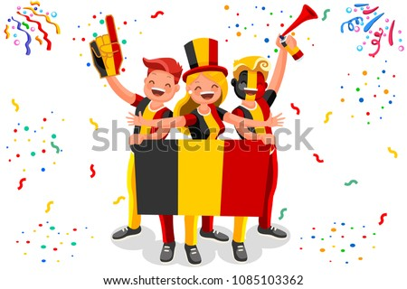 Russia 2018 world cup, Belgium football fans. Cheerful soccer fans, supporters crowd and Belgian flag. Belgium national day. Isometric people, vector illustration, sports images. Isolated background.